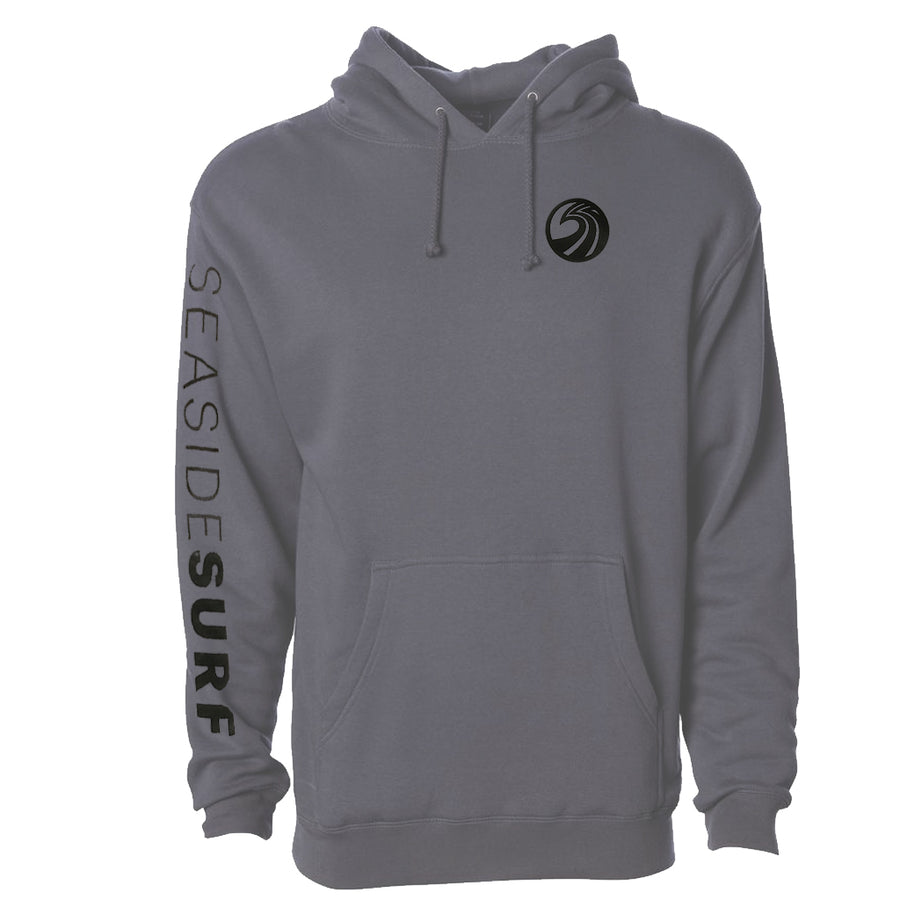 Seaside Surf Shop Mens New Wave Logo Printed Sleeve Pullover - Charcoal Heather, Apparel, Seaside Surf Shop, Mens Pullovers, Seaside Surf Shop Black Vintage Pullover. A pullover of classic proportions. Back in the black and ready for rock n roll.
