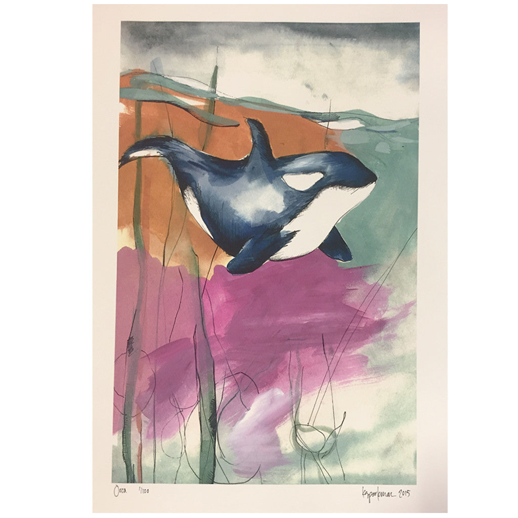Kara Sparkman Watercolors - Orca - Seaside Surf Shop
