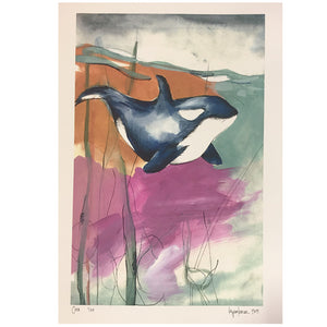 -Artwork-Kara Sparkman Watercolors - Orca-Kara Sparkman-Seaside Surf Shop