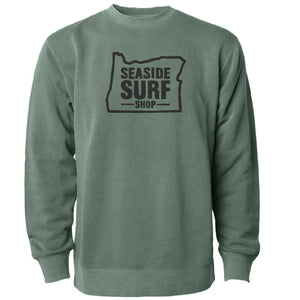 Seaside Surf Shop Unisex Oregon Crew Sweatshirt -  Alpine Green
