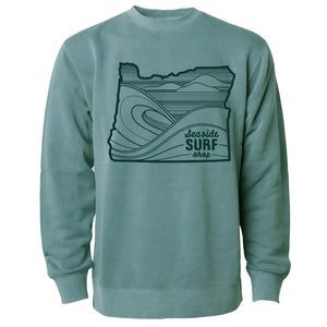 Seaside Surf Shop Unisex Oregon Waves Crew -  Alpine Green
