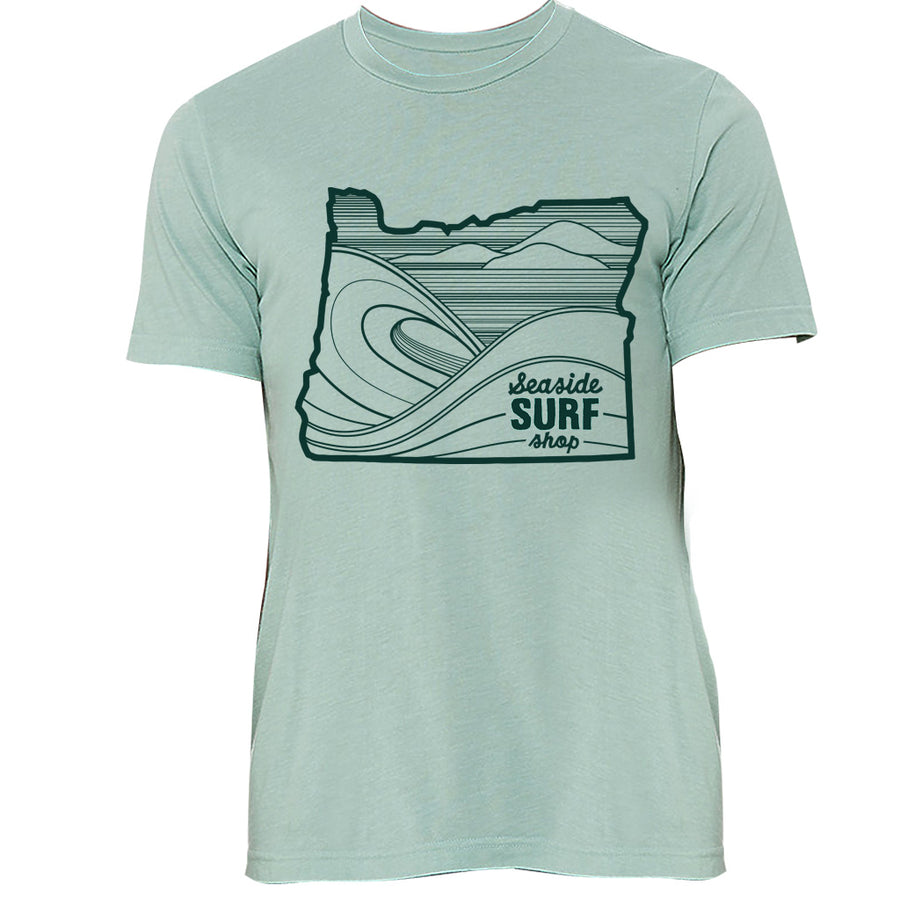 Seaside Surf Shop Unisex Oregon Waves Tee - Dusty Blue, Apparel, Seaside Surf Shop, Mens Tees, Womens Tees, Oregon Waves Tee , our newest offering and in time for summer featuring a uniquely soft triblend fabrication, modern fit, crew neck and short sleeve.Fabrication: 50% poly, 25% Airlume combed and ring-spun cotton, 25% rayon, 40 single 3.8 oz.Black Heather Triblend: 70% Airlume combed and ring-spun cotton, 15% polyester, 15% rayon
