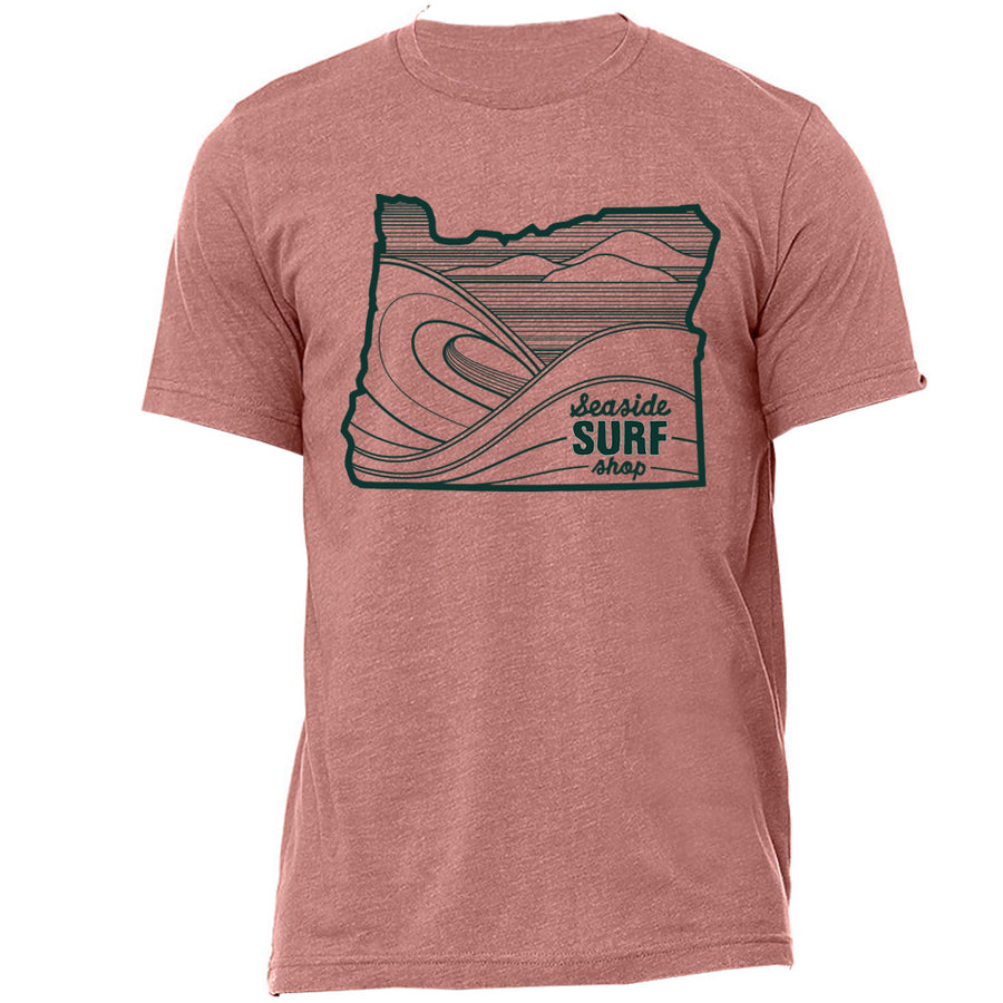 Seaside Surf Shop Unisex Oregon Waves Tee - Mauve