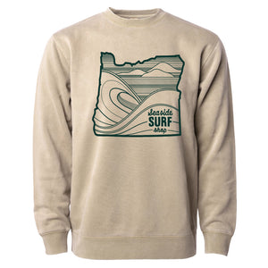 Seaside Surf Shop Unisex Oregon Waves Crew -  Sand