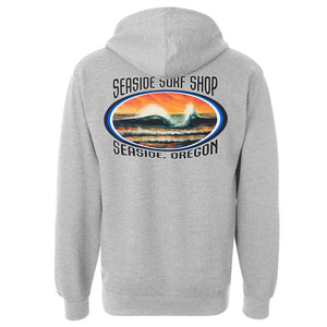 Seaside Surf Shop Mens Peak Hoody - Light Heather Grey, Apparel, Seaside Surf Shop, Mens Pullovers, Go right or left and get barreled either way with this new Seaside Surf Shop hoody. The ultimate sunset colors play backdrop to the type of wave we love, the perfect peak and offshore winds. Stay warm after a surf session, around a beach fire, and all winter long with this ideal graphic and heavyweight hooded sweatshirt.