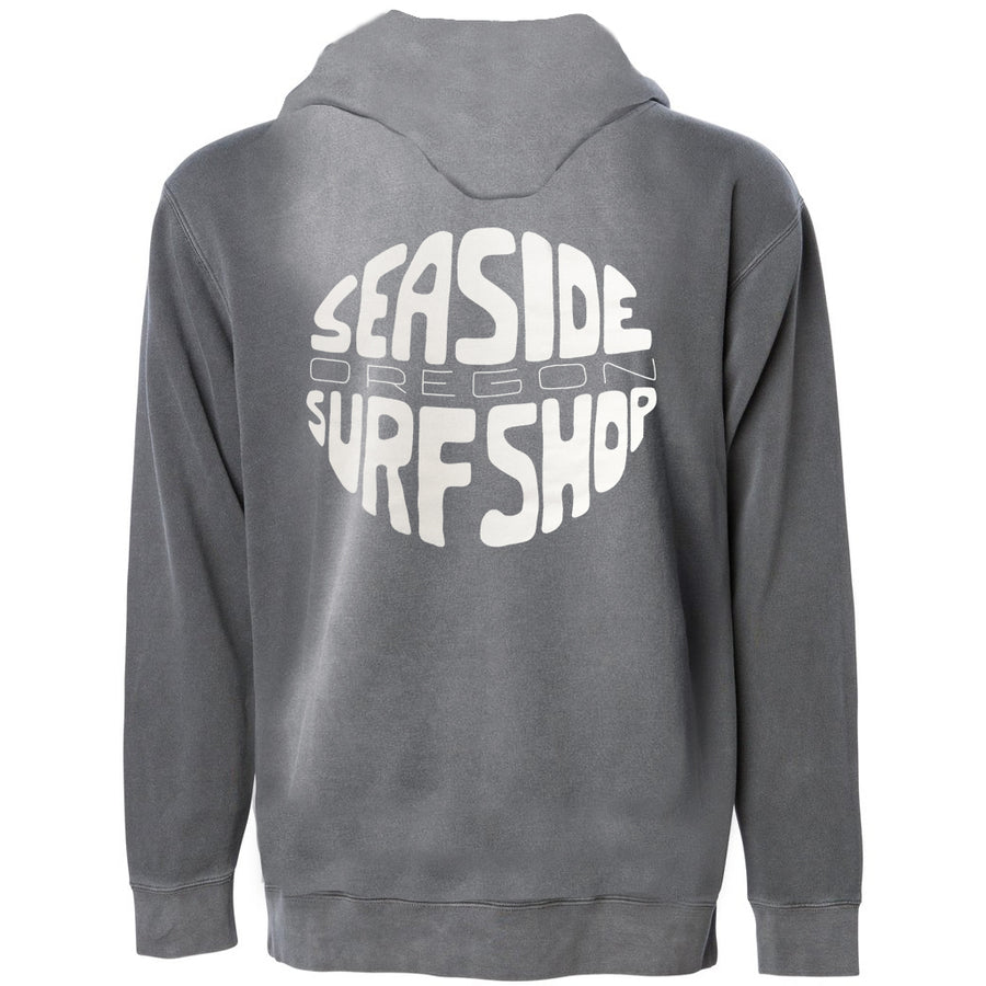 Seaside Surf Shop Unisex Gumball Hoody - Pigment Black, Apparel, Seaside Surf Shop, Unisex Hoody's, A midweight pigment dyed hooded pullover with screenprinted Gumball Logo design. Made with ultra soft cotton/polyester blend fleece, these garments are as comfortable as they are eye catching