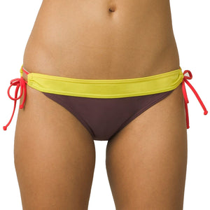 Prana Womens Sabaa Bottom - Thistle Color Block, Swimwear, Prana, Womens Bikini Bottoms, THE WIDE WAISTBAND OF THE SABA BOTTOM CREATES A FLATTERING FIT THAT CAN BE CONTROLLED WITH A SIDE TIE. A LOW RISE AND STANDARD LEG CUT PROVIDE MODERATE SEAT COVERAGE.PRODUCT DETAILSOpen tunnel side pant with tieWide waistband for flattering fitLow riseStandard leg cutModerate seat coverageImportedFABRIC DETAILS80% Nylon / 20% Spandex