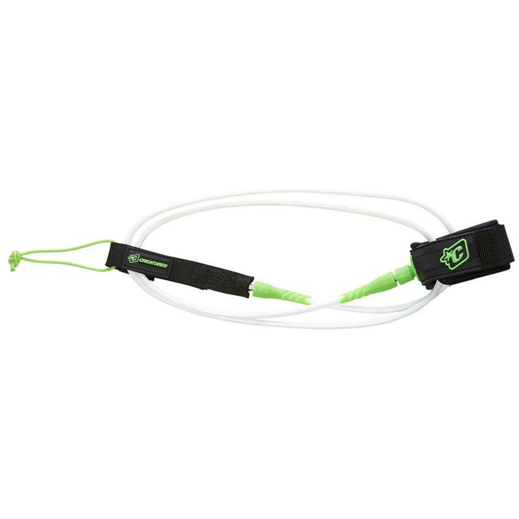 -Surf Accessories-Creatures 6' Pro Leash - White/Lime-Creatures of Leisure-Seaside Surf Shop