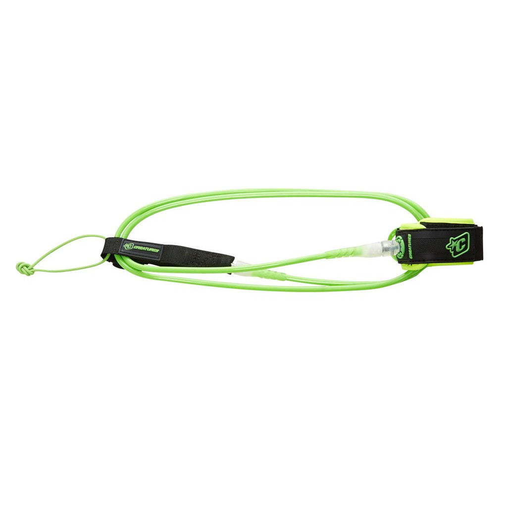 -Surf Accessories-Creatures 6' Comp Leash - Lime/Clear-Creatures of Leisure-Seaside Surf Shop