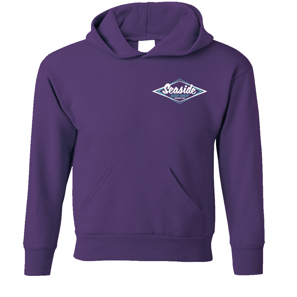 Seaside Surf Shop Youth Vintage Logo Pullover Hoody - Purple - Seaside Surf Shop