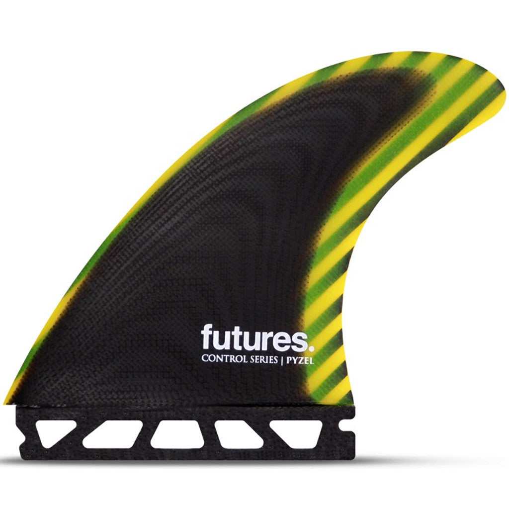 -Surf Accessories-Futures Fins - Pyzel Control Large Tri Fins - Black/Yellow-Futures Fins-Seaside Surf Shop