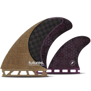 Futures Fins - T1 Rasta Twin + 1 - Jute/Carbon/Purple