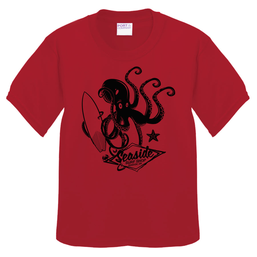 Seaside Surf Shop Toddler Octopus Tee - Red