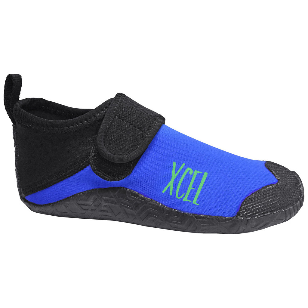 -Wetsuit Accessories-Xcel Youth Reef Walker 1mm Round Toe Boot - Black/Electric Blue-Xcel Wetsuits-Seaside Surf Shop