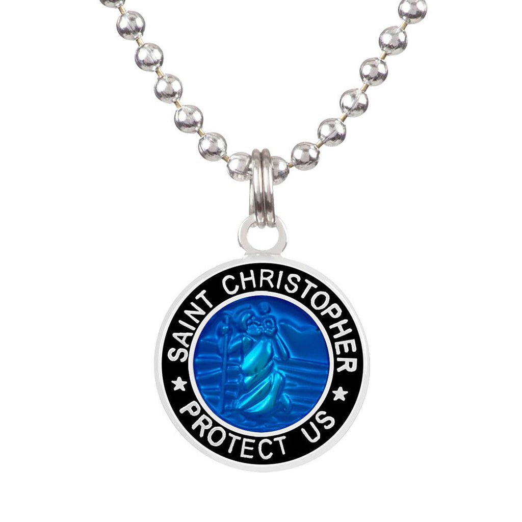 Saint Christopher Medium Medal - Royal Blue/Black - Seaside Surf Shop