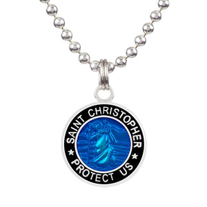-Jewelry-Saint Christopher Medium Medal - Royal Blue/Black-Get Back Supply-Seaside Surf Shop
