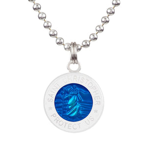 "Saint Christopher Small Medal - Royal Blue/White, Jewelry, Get Back Supply, St Christopher Medals, ½"" diameter.18"" aluminum ball chain (can be shortened by cutting).Embossed back with tiny Get Back which ensures authenticity.Silver plated medallion.Care: Rinse with fresh water and wipe dry after wearing in ocean, pool etc."