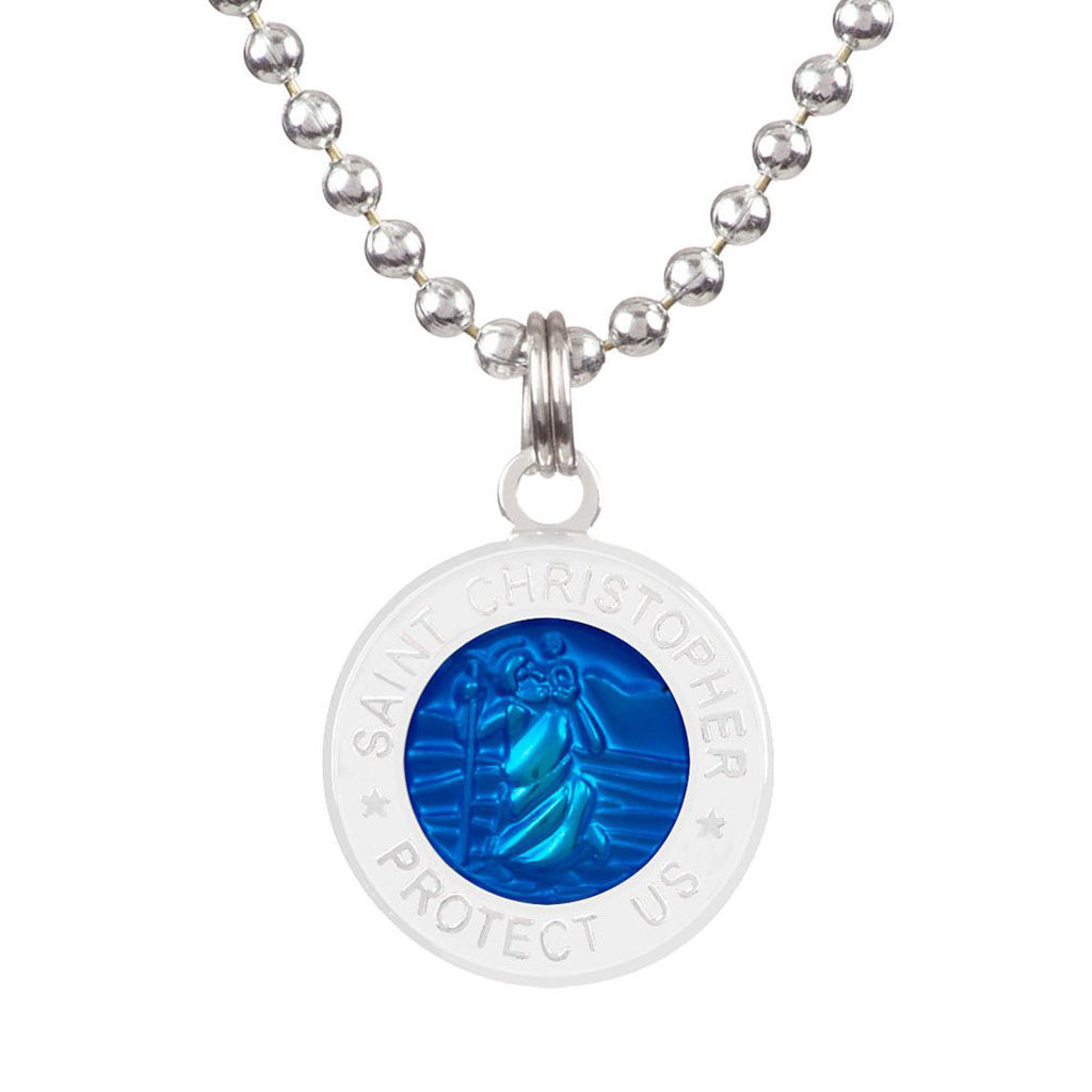 Saint Christopher Medium Medal - Royal Blue/White - Seaside Surf Shop