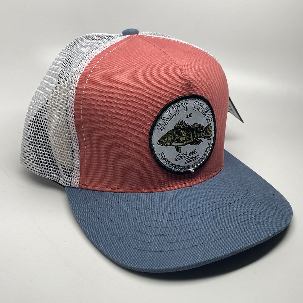 Salty Crew Baybass Retro Trucker5 Cap - Clay/Slate - Seaside Surf Shop