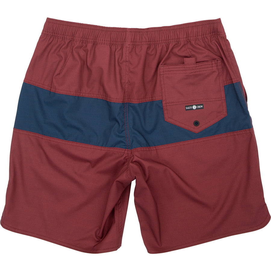 "Salty Crew Mens 18"" Elastic Beacons Boardshorts - Burgundy"