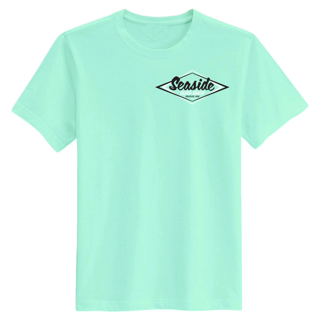 -Seaside Surf Apparel-Seaside Surf Shop Mens Vintage Logo Tee - Clean Mint-Seaside Surf Shop-Seaside Surf Shop