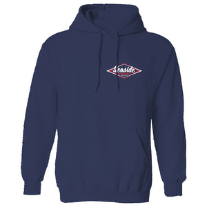 Seaside Surf Shop Mens Vintage Pullover - Navy, Apparel, Seaside Surf Shop, Mens Pullovers, Keep it classic. A hoody warm enough for here, durable and soft, with a Seaside Surf Shop logo that's much-loved by young and old-timers alike.
