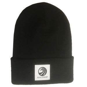 Seaside Surf Shop Wave Logo Beanie -Black, Apparel Accessories, Seaside Surf Shop, Beanies, Seaside Surf custom beanie made with tight knit acrylic. As staple as it gets with our triple S wave logo patch.