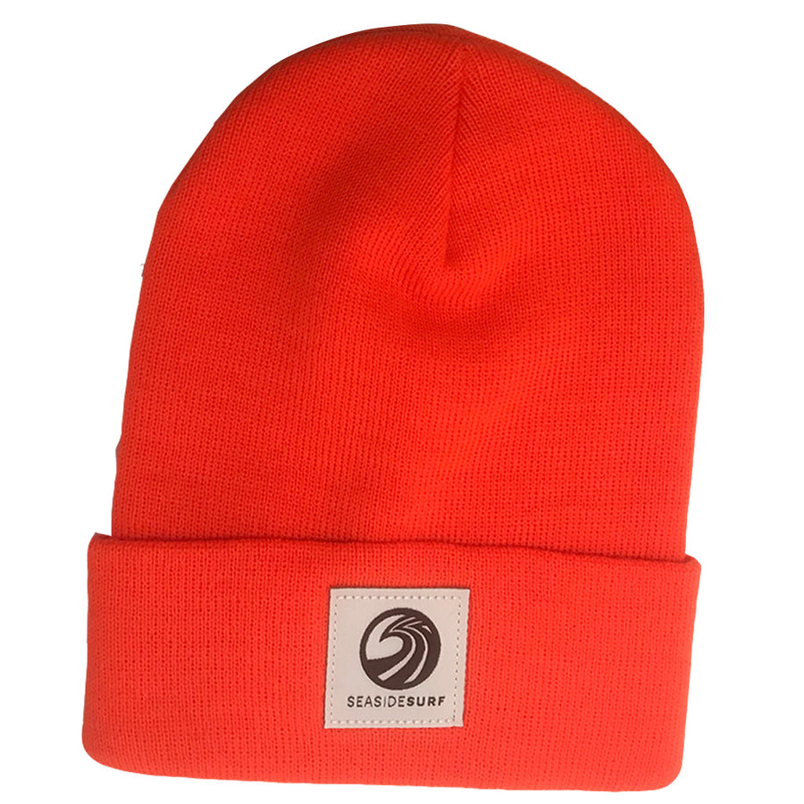 Seaside Surf Shop Wave Logo Beanie - Blaze Orange, Apparel Accessories, Seaside Surf Shop, Beanies, Seaside Surf custom beanie made with tight knit acrylic. As staple as it gets with our triple S wave logo patch.