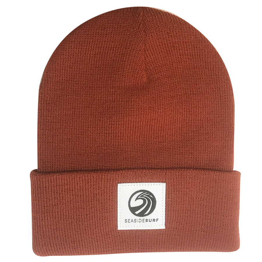 Seaside Surf Shop Wave Logo Beanie - Burnt Orange, Apparel Accessories, Seaside Surf Shop, Beanies, Seaside Surf custom beanie made with tight knit acrylic. As staple as it gets with our triple S wave logo patch.