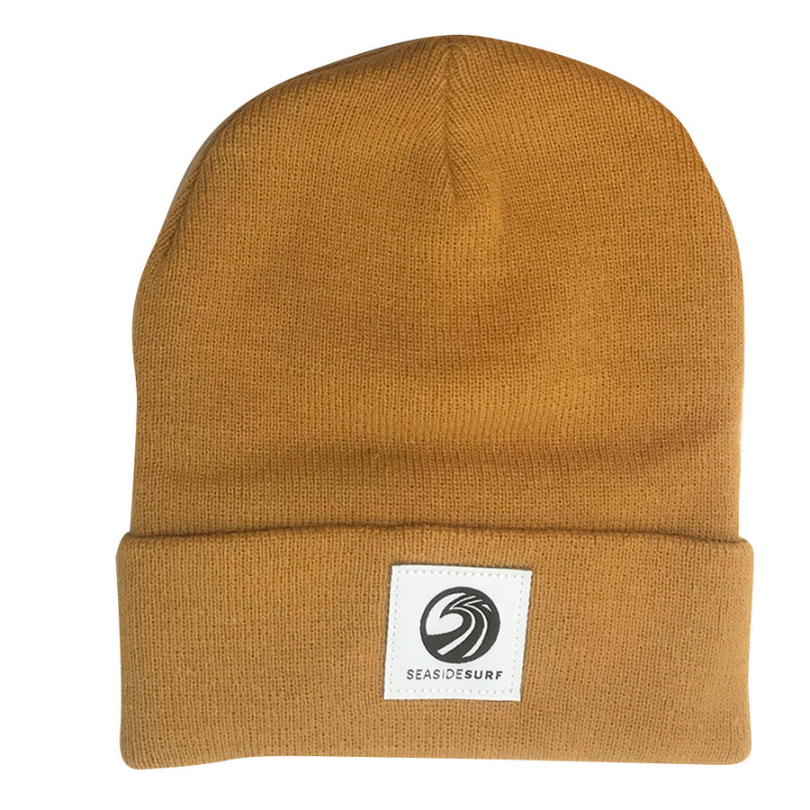 Seaside Surf Shop Wave Logo Beanie - Wheat, Apparel Accessories, Seaside Surf Shop, Beanies, Seaside Surf custom beanie made with tight knit acrylic. As staple as it gets with our triple S wave logo patch.