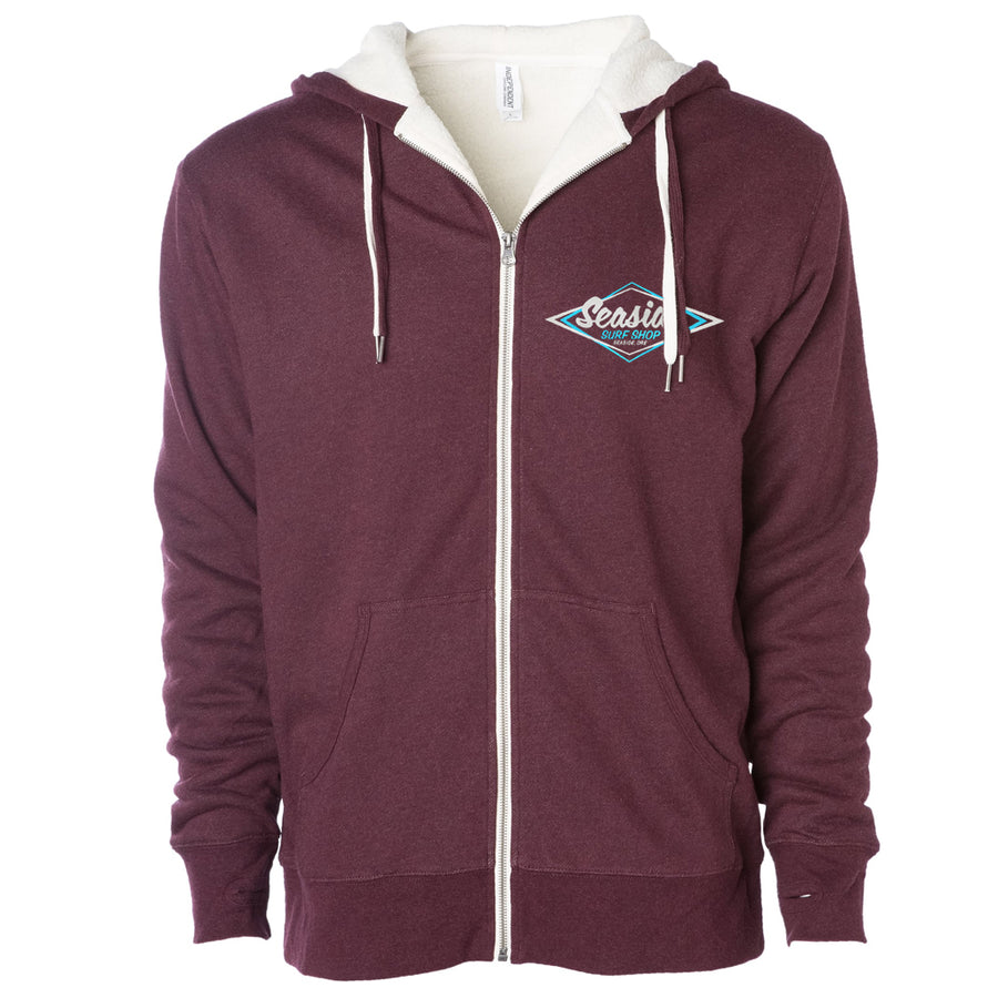 Seaside Surf Shop Mens Vintage Logo Sherpa Zip Hoody - Burgundy Heather-Seaside Surf Shop-Seaside Surf Shop