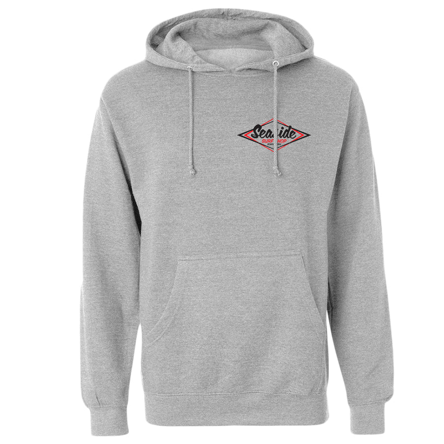 Seaside Surf Shop Mens Vintage Pullover - Grey Heather, Apparel, Seaside Surf Shop, Mens Pullovers, Keep it classic. A hoody warm enough for here, durable and soft, with a Seaside Surf Shop logo that's much-loved by young and old-timers alike.