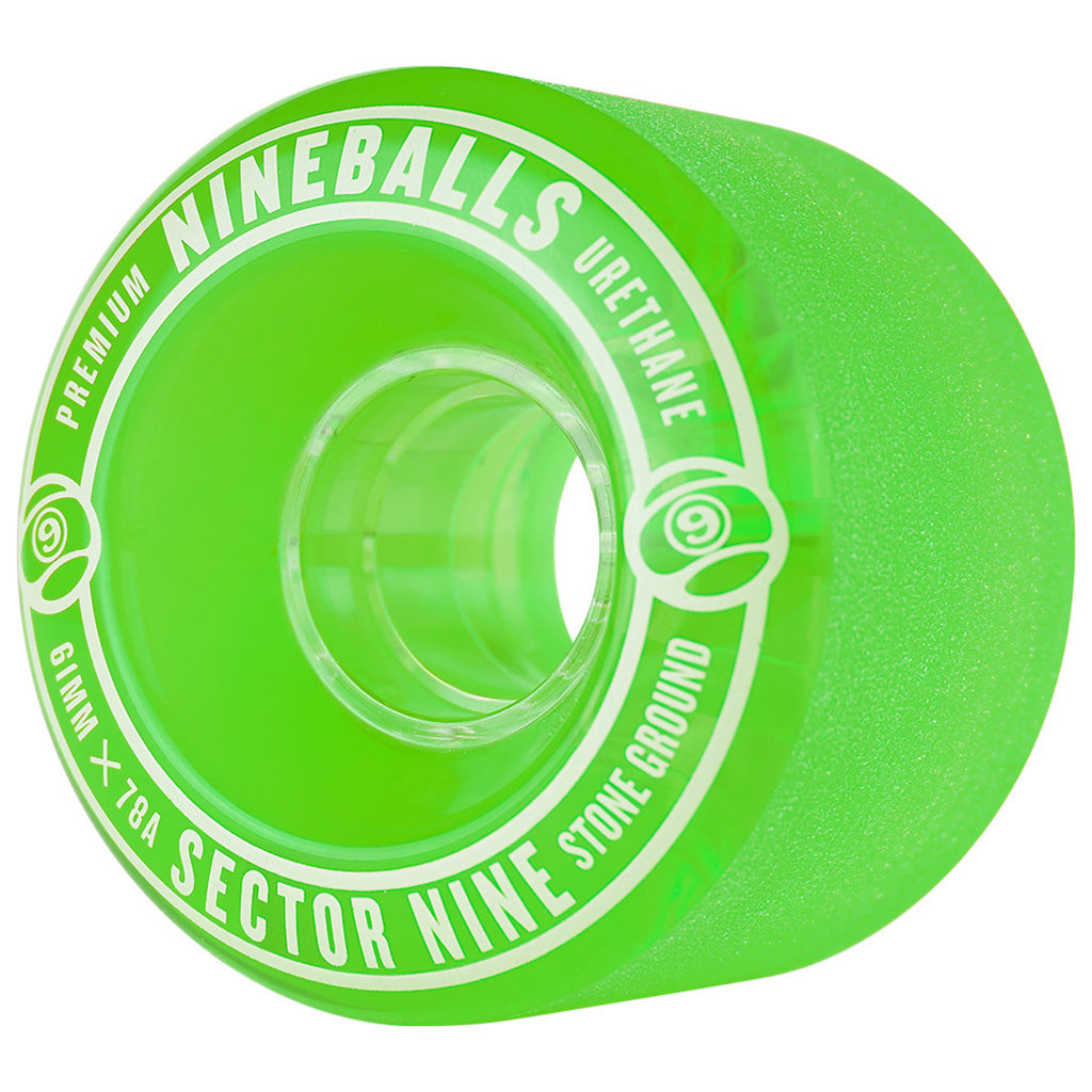 Sector 9 61mm 78A Nineballs Wheel Set - Green - Seaside Surf Shop