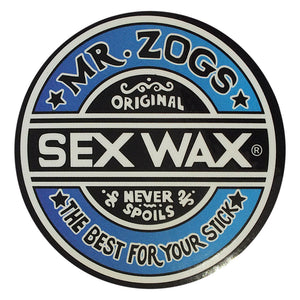 "Sex Wax Classic Logo Stickers - 7"" Blue Fade-Zogs Sex Wax-Seaside Surf Shop"