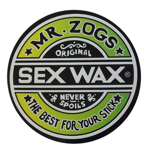 "-Stickers-Sex Wax Classic Logo Stickers - 3"" Green Fade-Zogs Sex Wax-Seaside Surf Shop"
