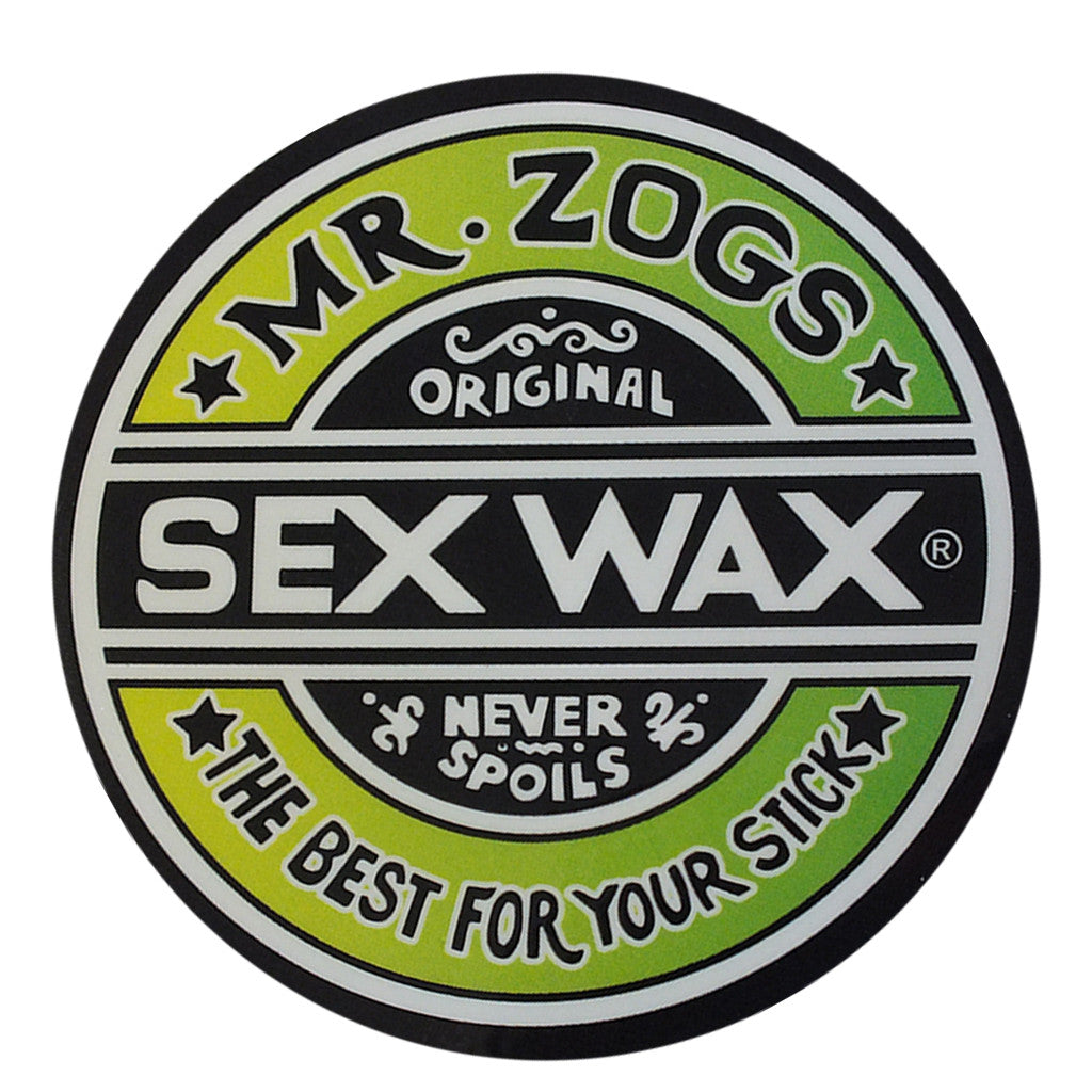 "-Misc. Stuff-Sex Wax Classic Logo Stickers - 7"" Green Fade-Zogs Sex Wax-Seaside Surf Shop"
