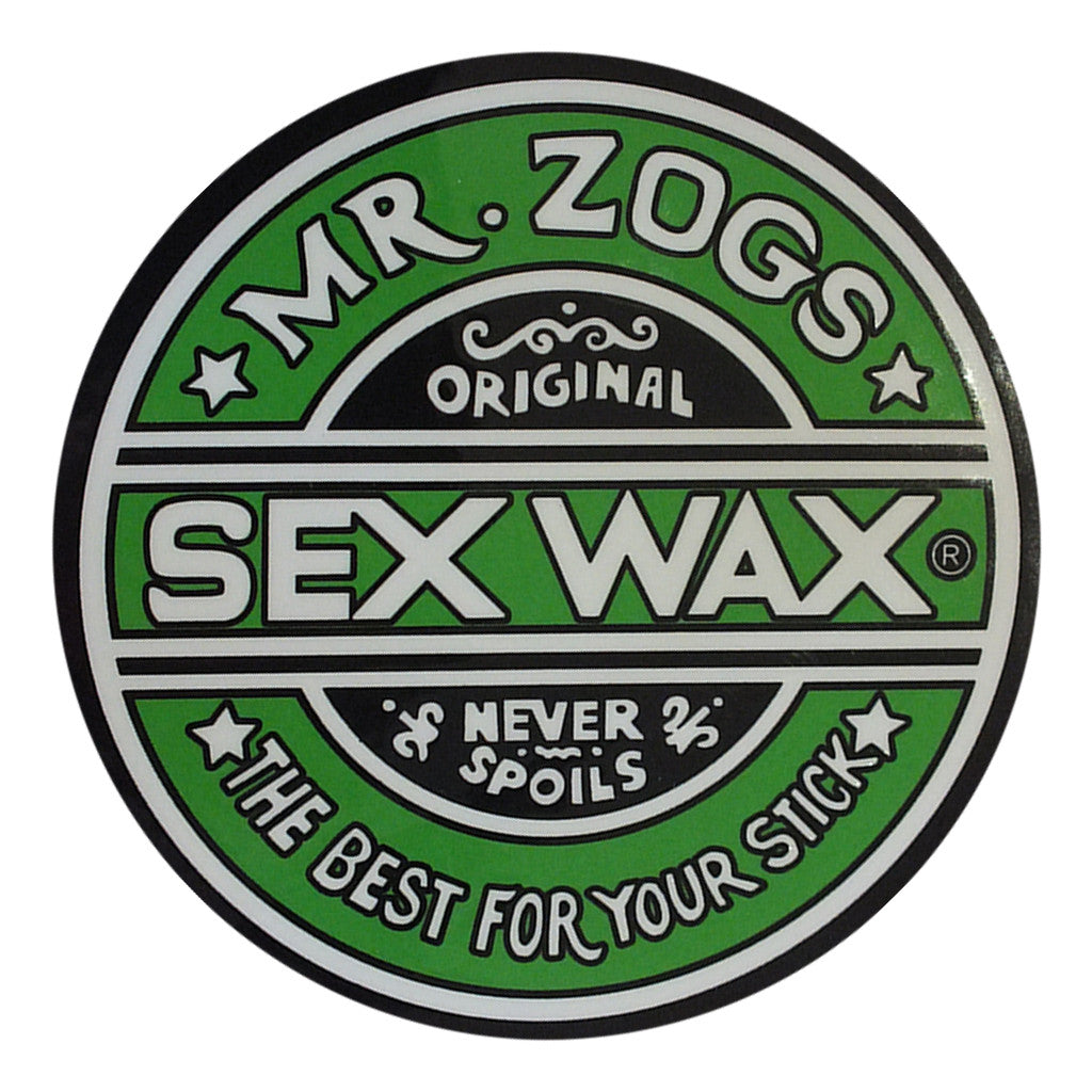 "-Misc. Stuff-Sex Wax Classic Logo Stickers - 7"" Green-Zogs Sex Wax-Seaside Surf Shop"