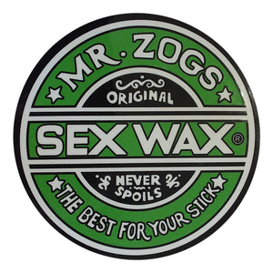"-Stickers-Sex Wax Classic Logo Stickers - 7"" Green-Zogs Sex Wax-Seaside Surf Shop"