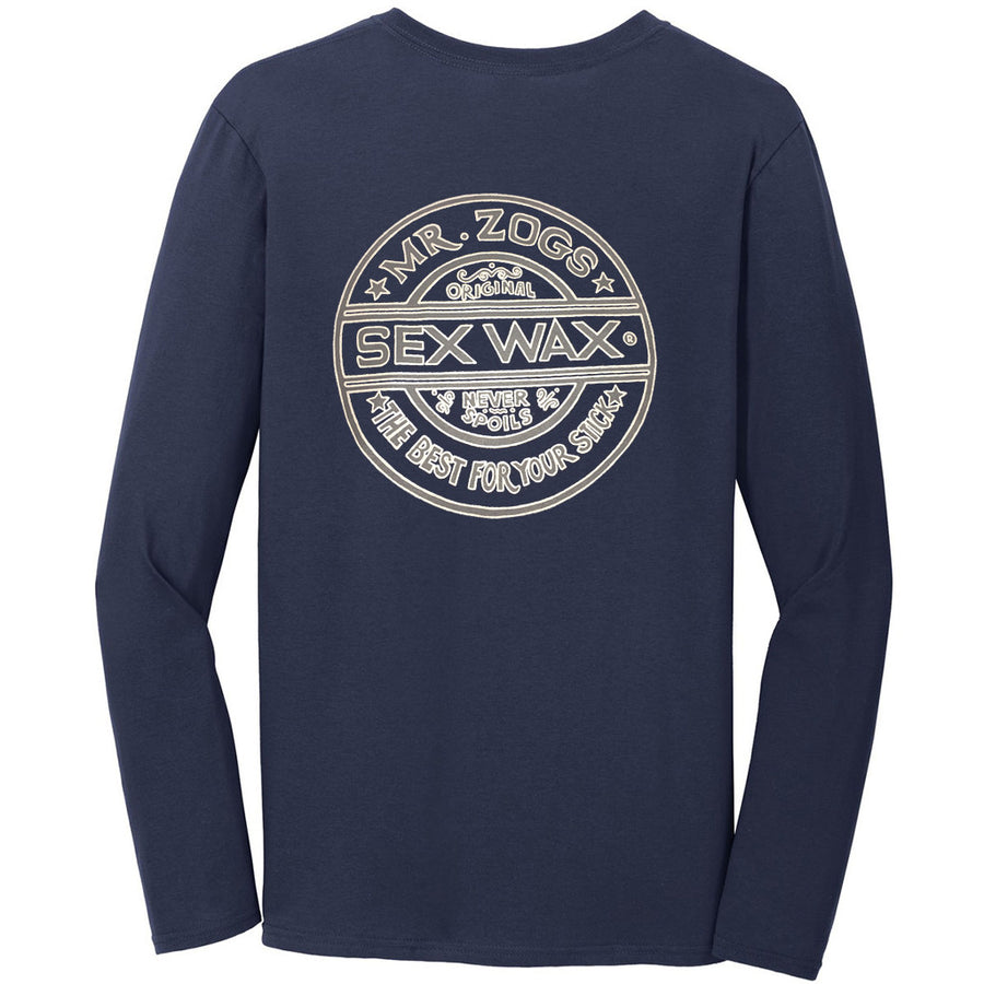 Sex Wax Mens Pinstripe L/S Tee - Navy-Zogs Sex Wax-Seaside Surf Shop