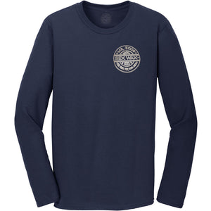Sex Wax Mens Pinstripe L/S Tee - Navy, Apparel, Zogs Sex Wax, Mens Tees, Sex Wax Mens Pinstripe Long Sleeve Tee in Navy color is a retro throwback to their classic logo in a pinstripe design. Printed on both front and back.Loose fit 6 oz. 100% Cotton Top