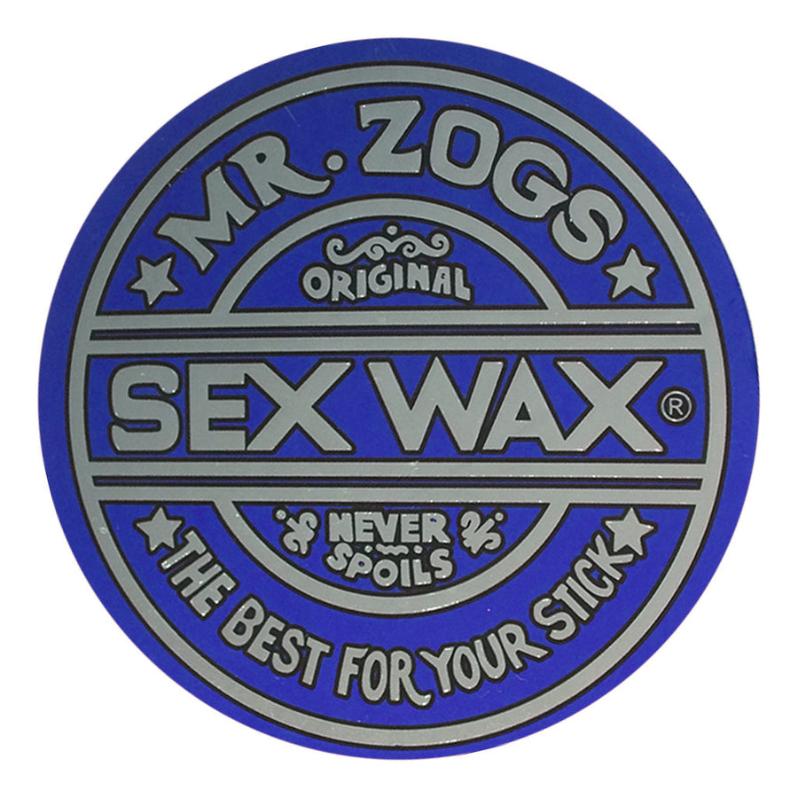 "Sex Wax Classic Logo Stickers - 10"" Metallic Blue, Stickers, Zogs Sex Wax, Zogs Sex Wax, Sex Wax Classic Logo Stickers-never too small...for small spaces but big presence. Comes in 10"" Metallic Blue."