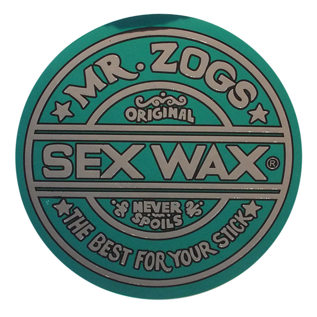 "-Misc. Stuff-Sex Wax Classic Logo Stickers - 7"" Metallic Green-Zogs Sex Wax-Seaside Surf Shop"