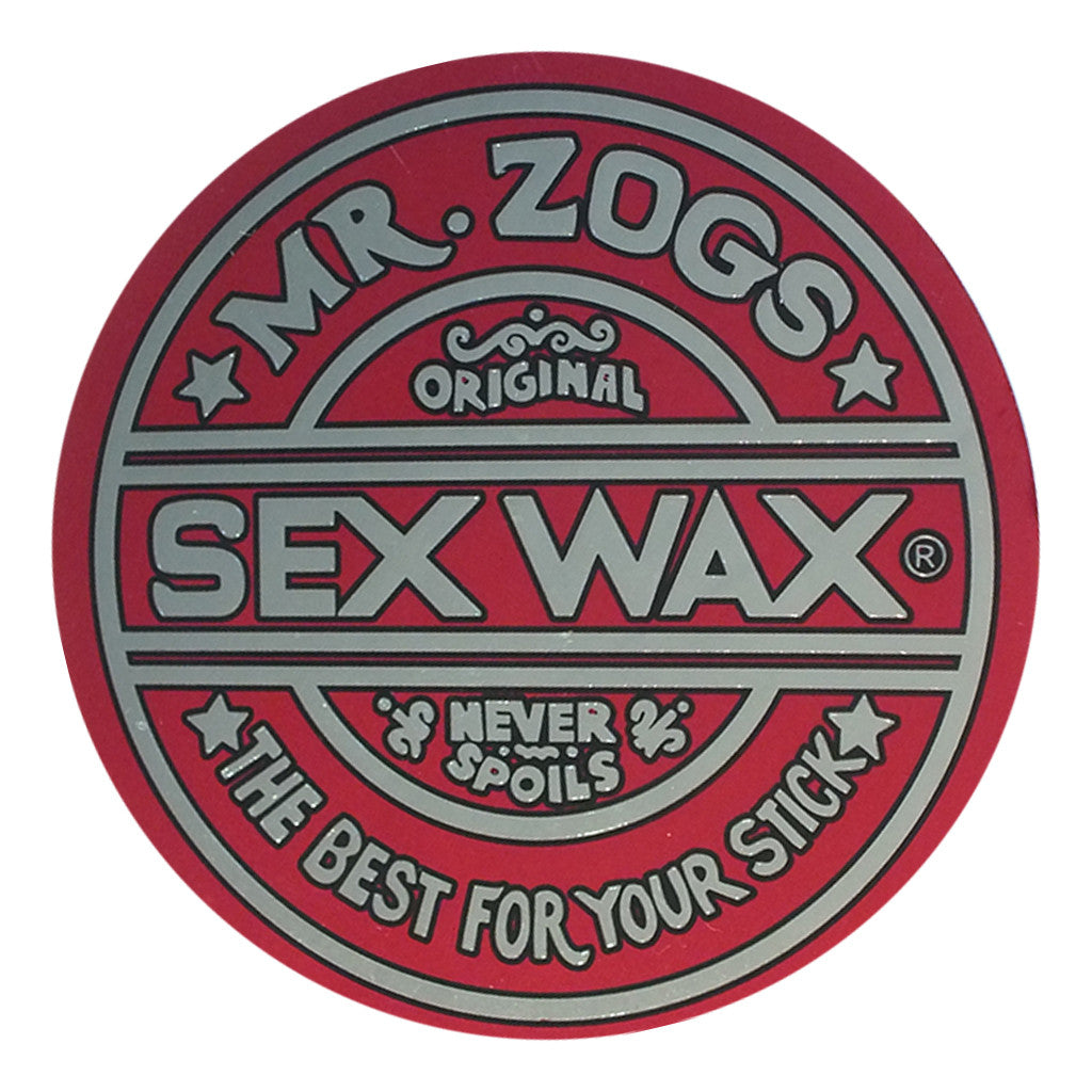 "-Misc. Stuff-Sex Wax Classic Logo Stickers - 7"" Metallic Red-Zogs Sex Wax-Seaside Surf Shop"