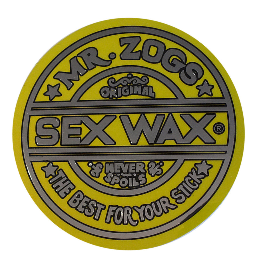 "Sex Wax Classic Logo Stickers - 7"" Metallic Yellow, Stickers, Zogs Sex Wax, Zogs Sex Wax, Sex Wax Classic Logo Stickers-never too small...for small spaces but big presence. Comes in 7"" Metallic Yellow."