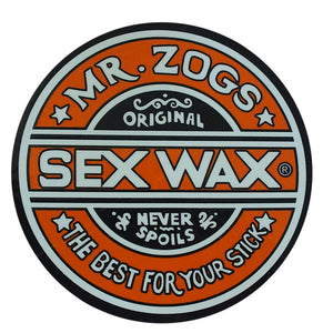 "-Stickers-Sex Wax Classic Logo Stickers - 3"" Orange-Zogs Sex Wax-Seaside Surf Shop"