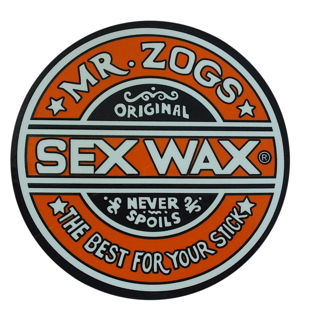 "Sex Wax Classic Logo Stickers - 10"" Orange - Seaside Surf Shop"