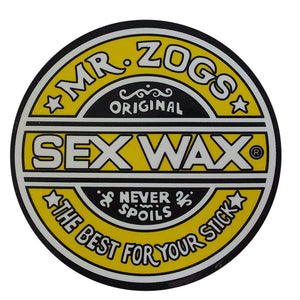 "Sex Wax Classic Logo Stickers - 10"" Yellow, Stickers, Zogs Sex Wax, Zogs Sex Wax, Sex Wax Classic Logo Stickers-never too small...for small spaces but big presence. Comes in 10"" Yellow."