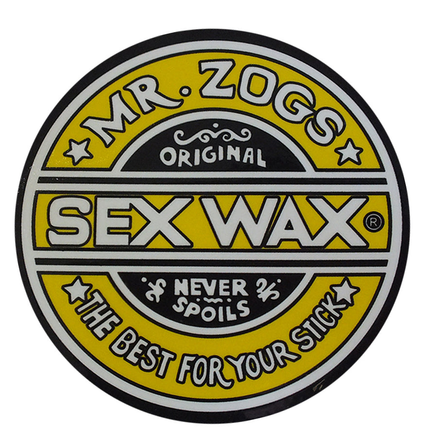 "-Stickers-Sex Wax Classic Logo Stickers - 3"" Yellow-Zogs Sex Wax-Seaside Surf Shop"