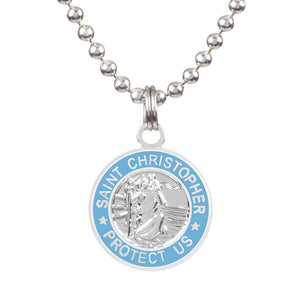 "Saint Christopher Small Medal - Silver/Baby Blue, Jewelry, Get Back Supply, St Christopher Medals, ½"" diameter.18"" aluminum ball chain (can be shortened by cutting).Embossed back with tiny Get Back which ensures authenticity.Silver plated medallion.Care: Rinse with fresh water and wipe dry after wearing in ocean, pool etc."