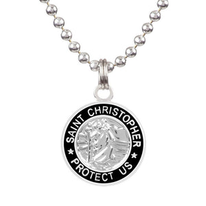 -Jewelry-Saint Christopher Medium Medal - Silver/ Black-Get Back Supply-Seaside Surf Shop